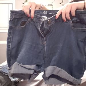 dark washed jean shorts